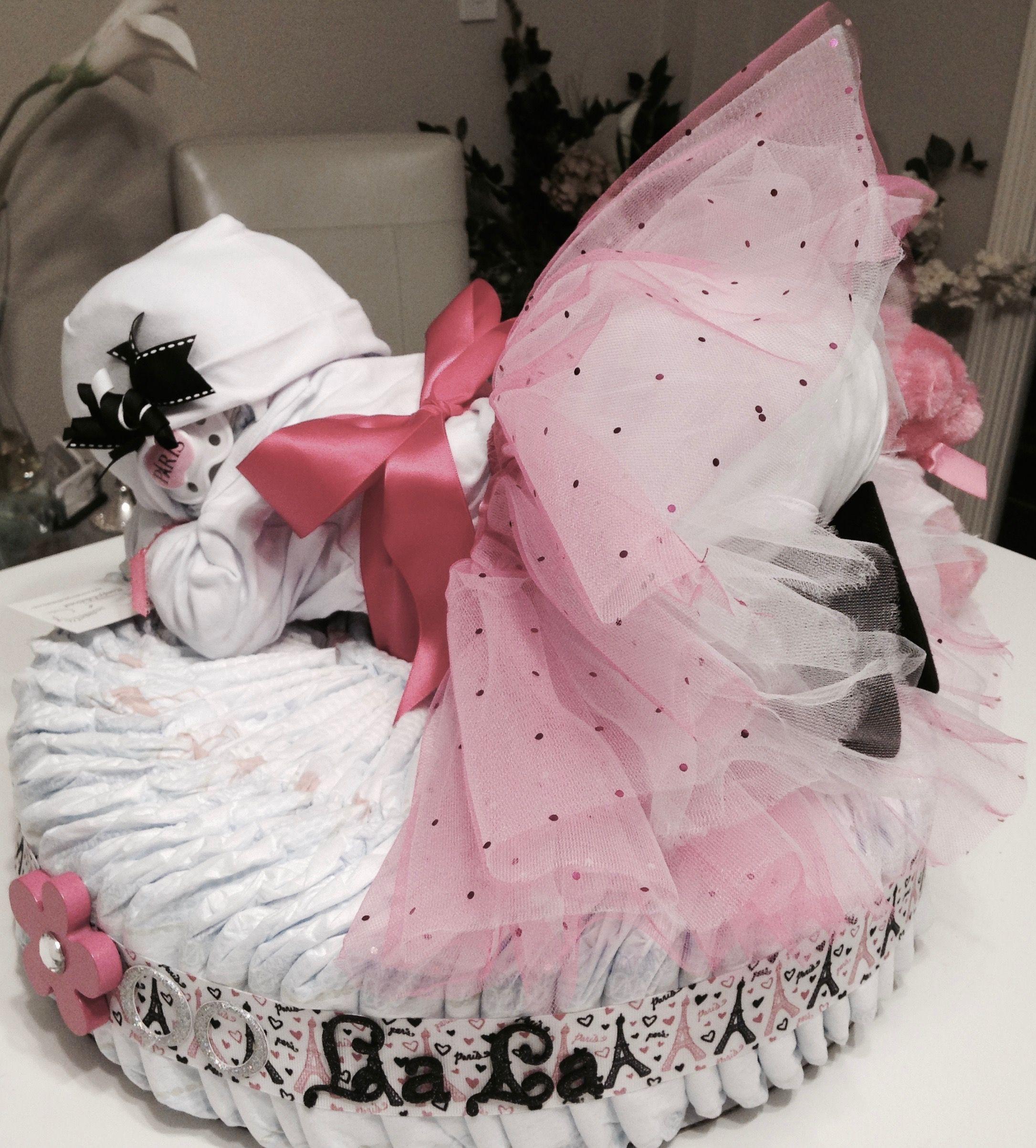 Custom paris ooo la la diaper baby cake perfect for a