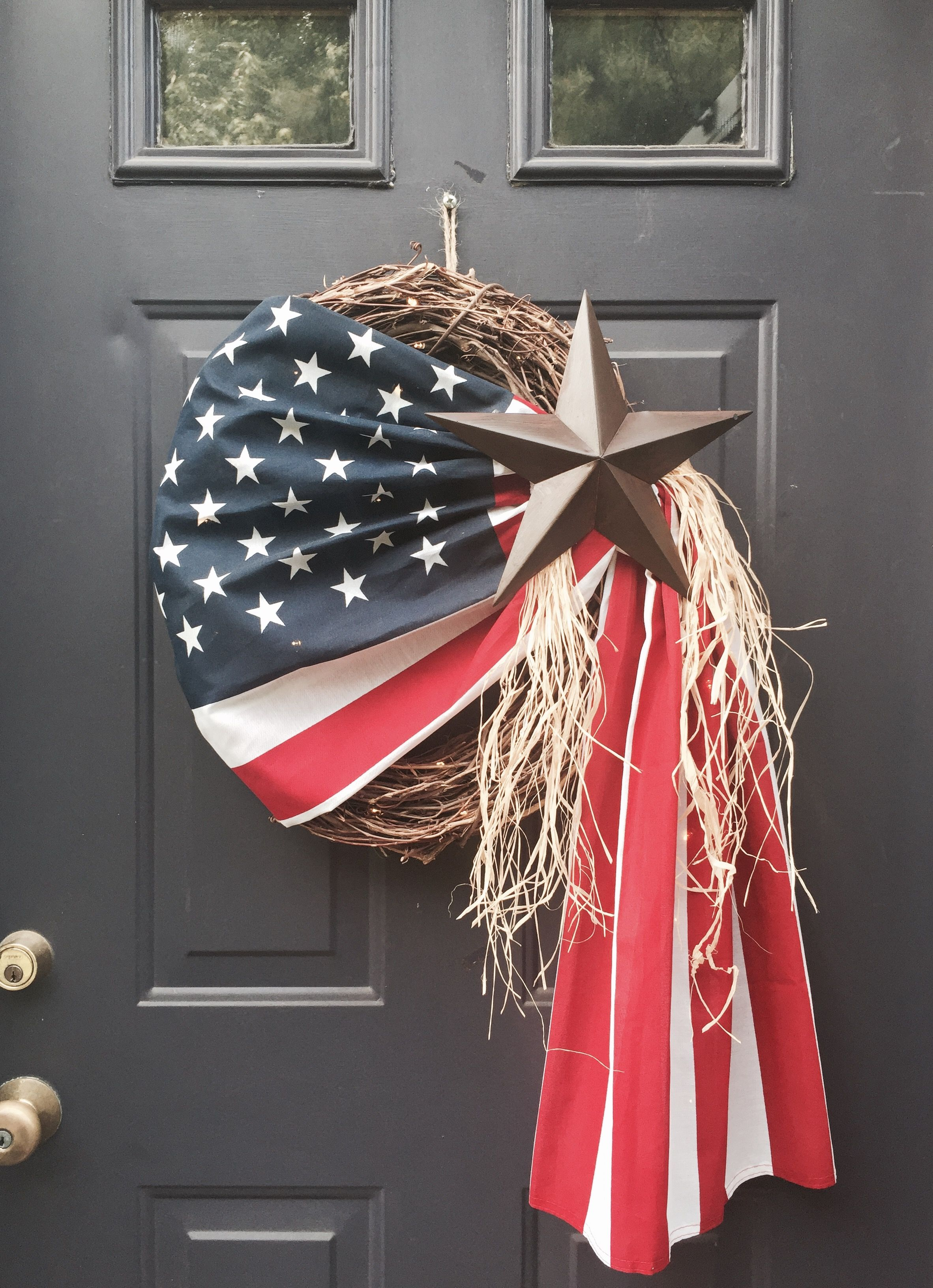 American Flag Wreath With Brown Rustic Star