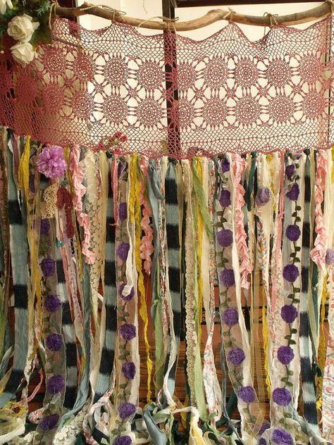 80 wide x84 long boho garland curtain gypsy hippie for Cortinas marroquies