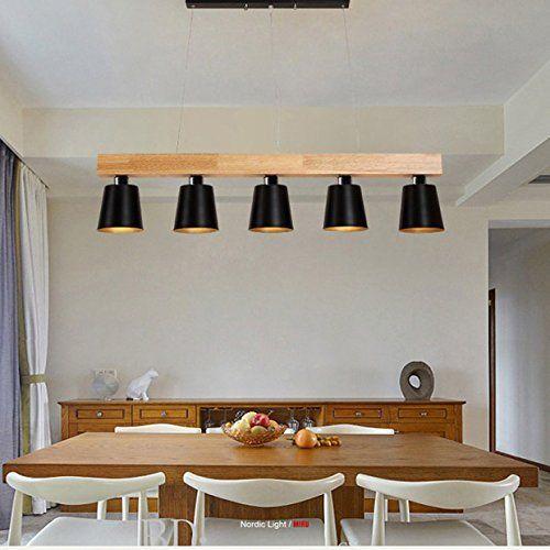 ZMH Lustre Retro Suspension LED Lampe à suspension en bois et métal - lustre pour salle a manger