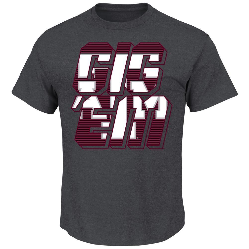 Men's Charcoal Double Texas A&M Aggies Logo T-Shirt