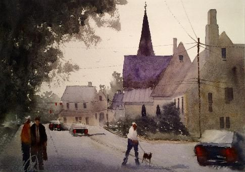 Watercolor painting by Mick McAndrews, instructor at Chester Springs Studio in Historic Yellow Springs. Mick McAndrews is an award-winning watercolor artist and plein air painter.  #watercolors #paintings #classes #MickMcAndrews