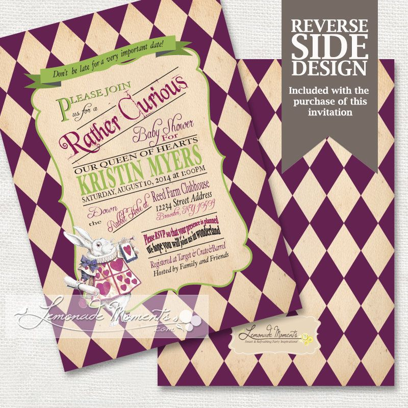 Alice in Wonderland Invitation / Printable Baby Shower / Mad Hatter ...