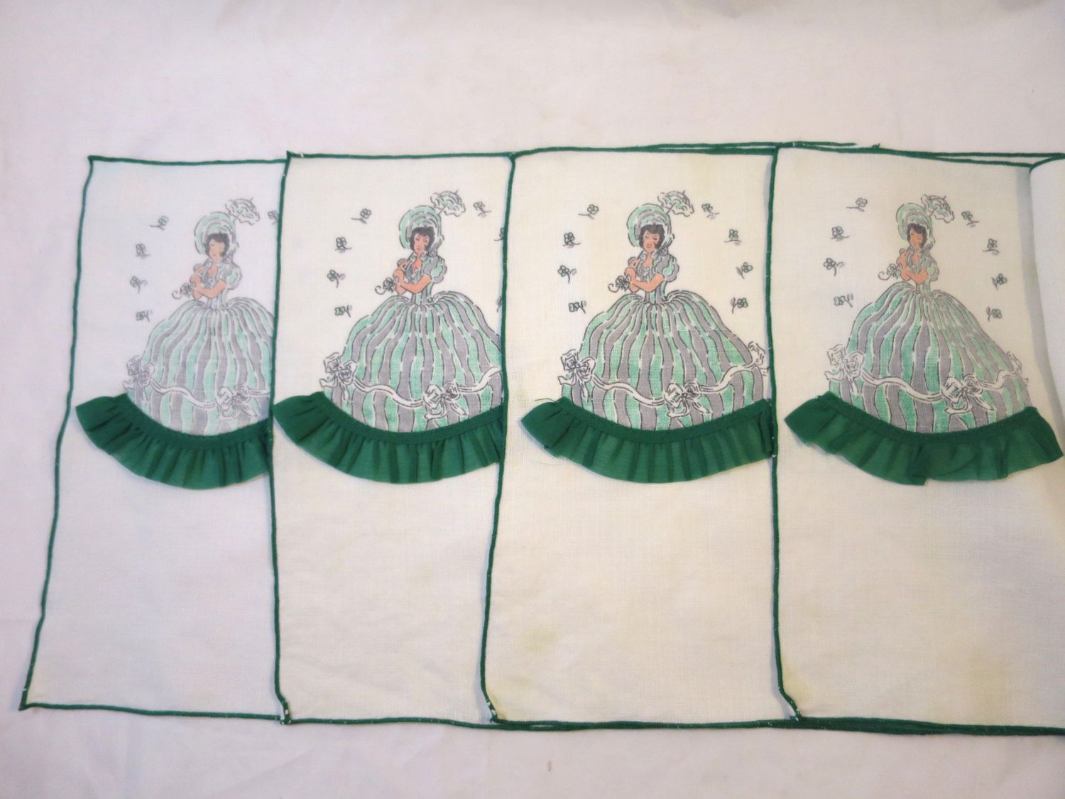 4 Linen Placemats Crinoline Lady In Green Dress Sheer