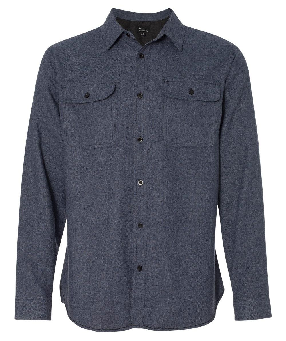 Customize this warm Burnside Solid Long Sleeve Flannel Shirt - as low as $36.99 ea.