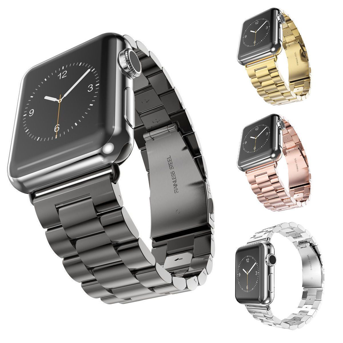 ac983377eb9d1 Stainless Steel Watch Band For iWatch Apple Watch Band Strap Link Bracelet  Accessories 38mm 42mm Classical Lock with Adapter