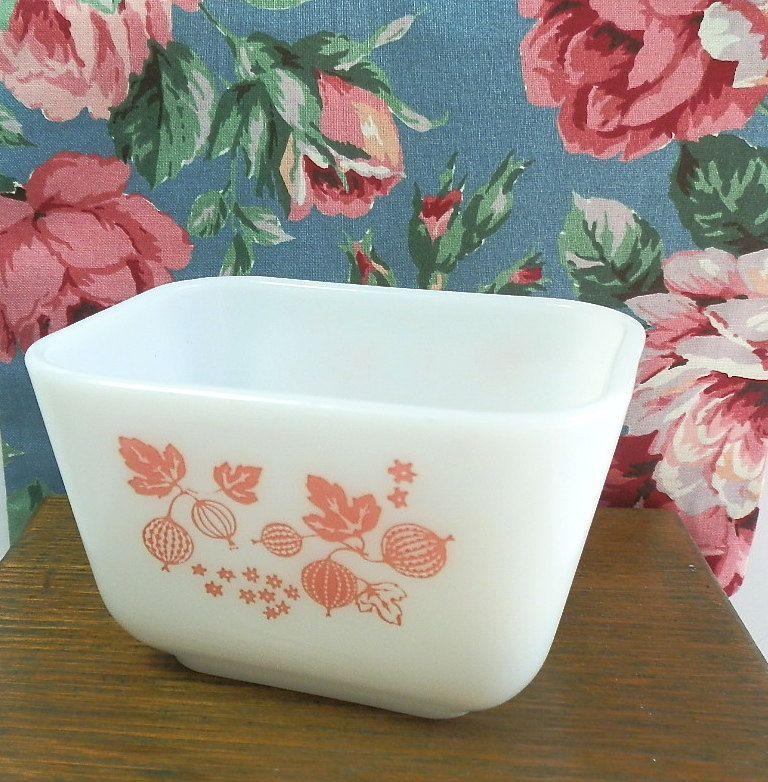 Vintage Pyrex Pink Gooseberry Refrigerator Dish. $4.75, via Etsy.
