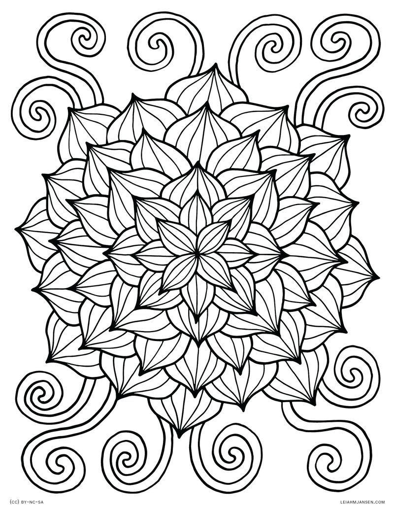 Ausmalbilder Blumen Mandala  Kostenlose erwachsenen malvorlagen