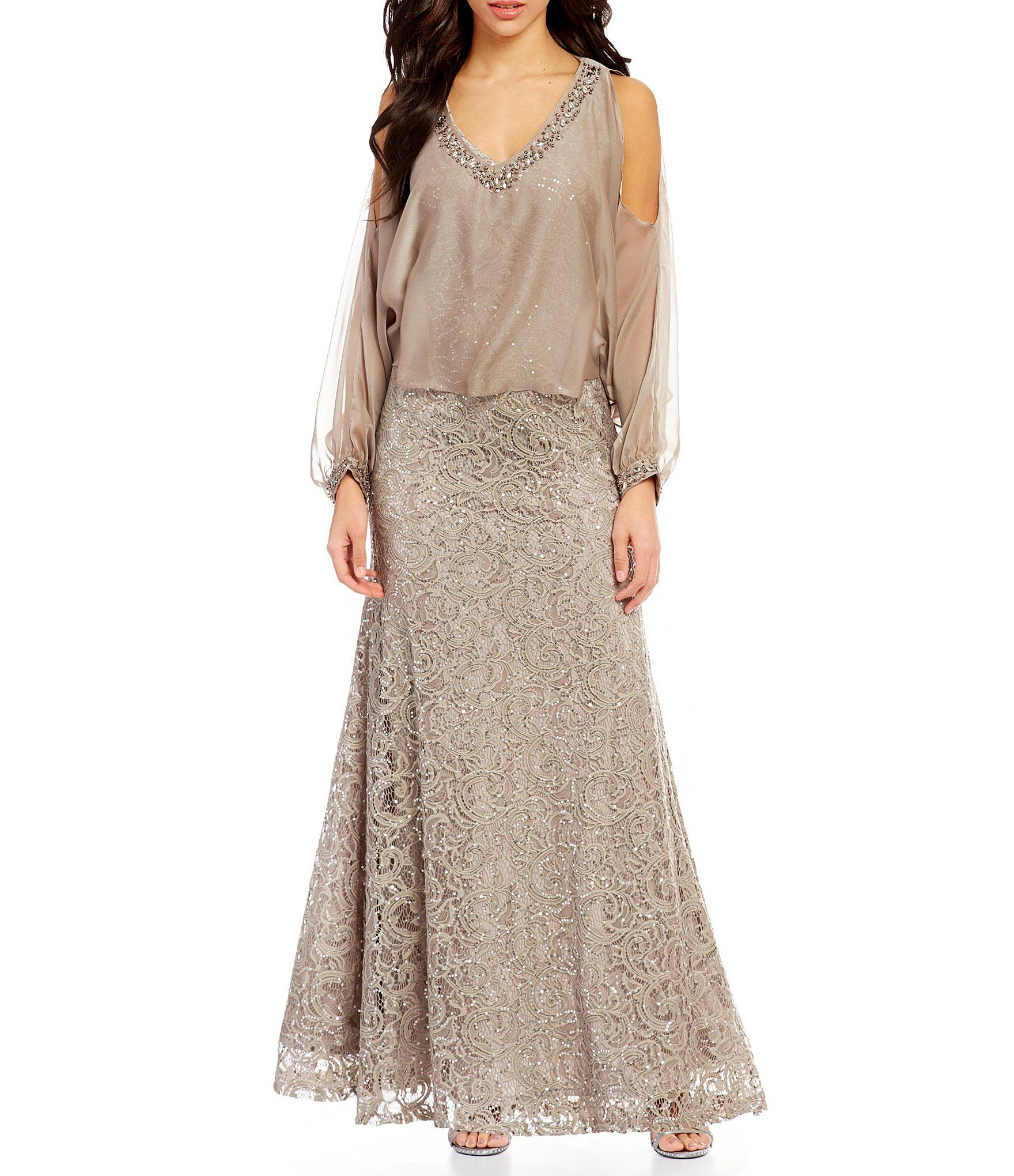 Shop for ignite evenings lace coldshoulder capelet gown at dillards