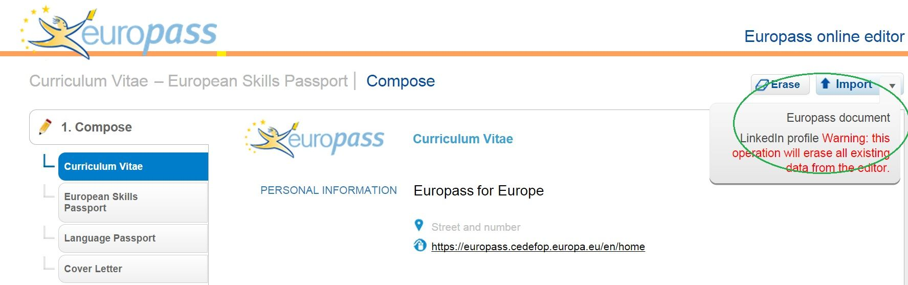 download your  linkedin profile into your  europass