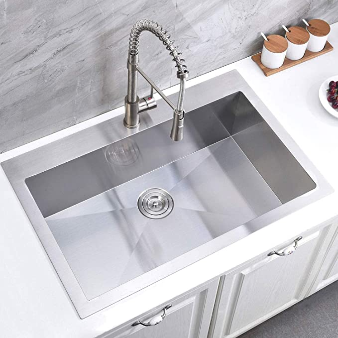 Shaco Commercial 10 Inch Deep 28 Inch Drop In Single Bowl Basin Handmade T304 Stainless Steel Top Mount Kitc In 2021 Drop In Kitchen Sink Single Bowl Kitchen Sink Sink