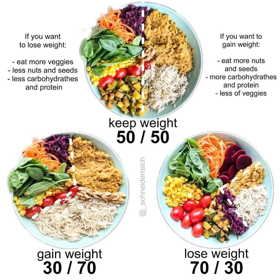 Food intake to keep/lose/gain weight. Healthy meal plans
