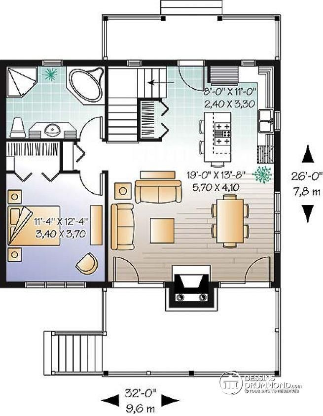 W3955 - Maison style chalet scandinave, bord de lu0027eau, foyer double - plan de maison simple