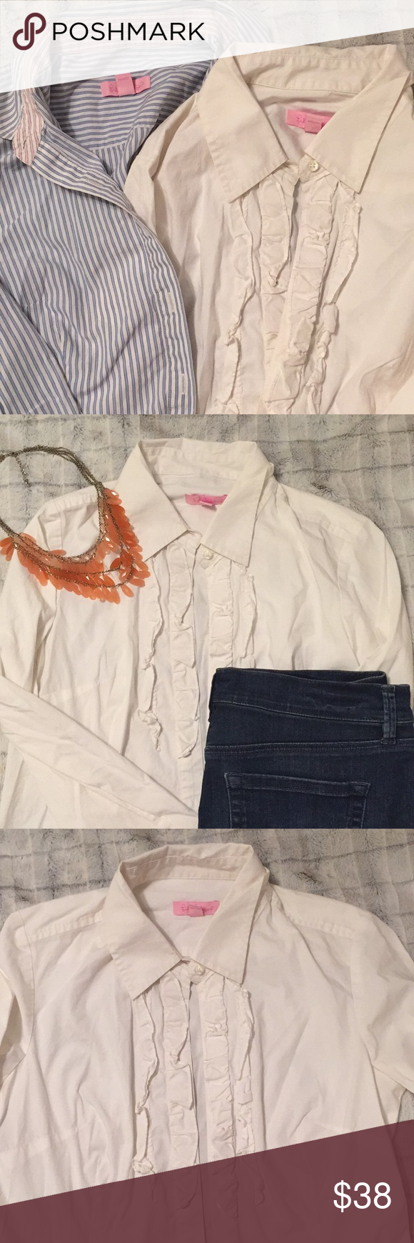 66ac38569b Bundle of Lilly Tops Classic Lilly button downs. White one has nice ruffles  down the