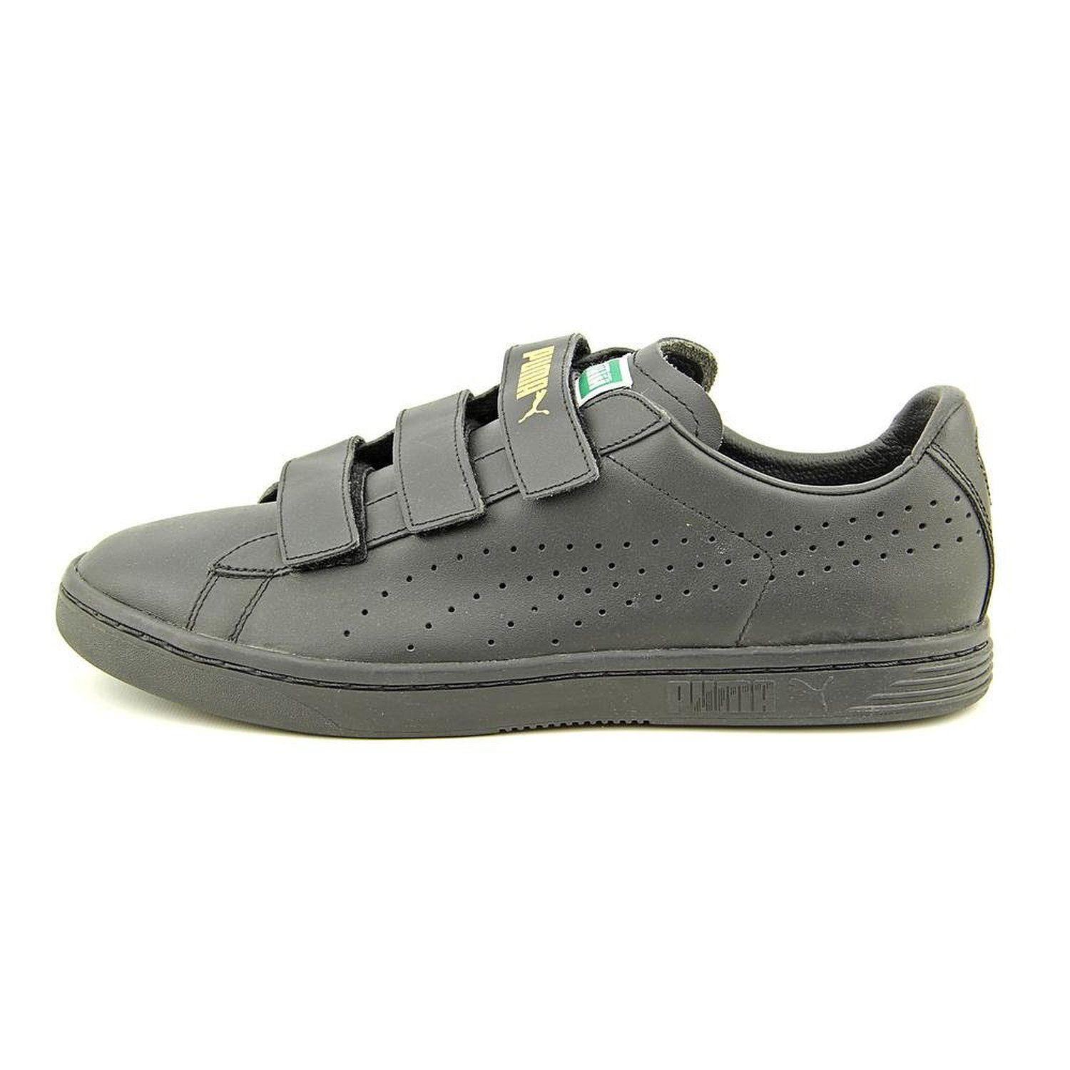 official photos e17c0 08dc1 Puma Court Star Velcro Mens Size 10 Black Leather Sneakers ...