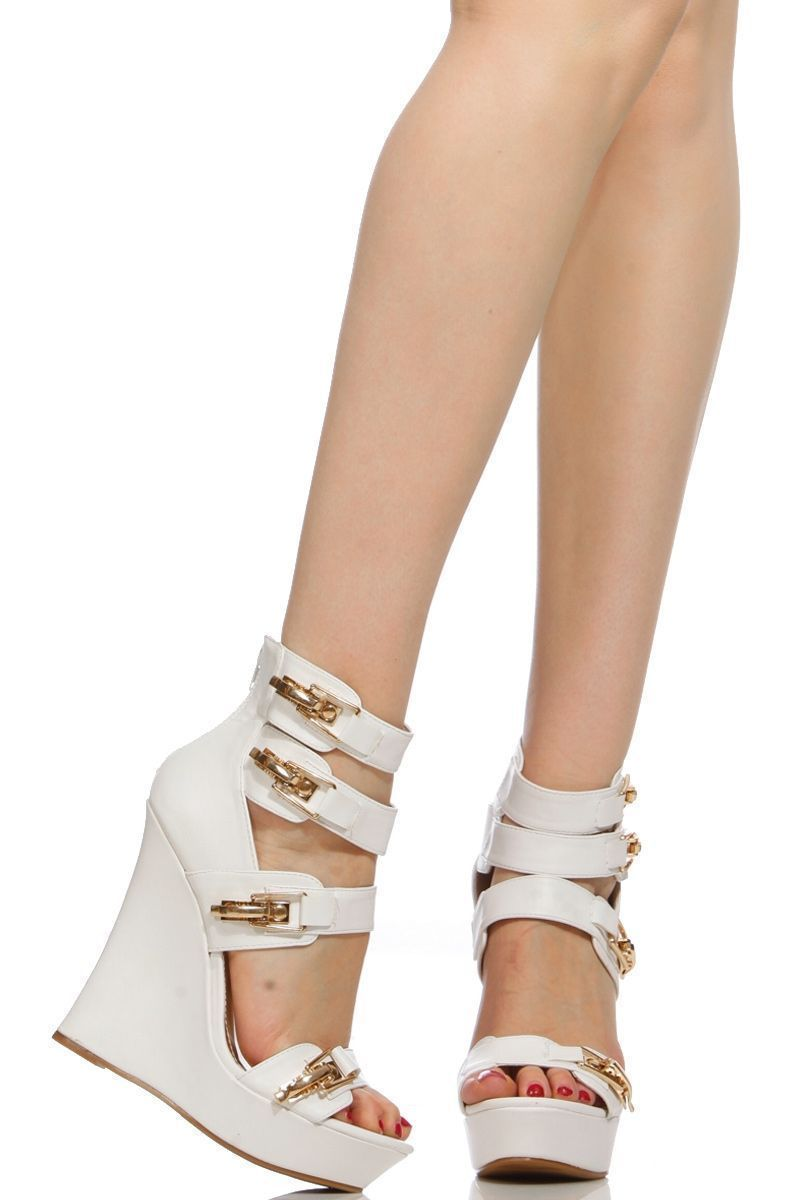 513006d8fc08 White Faux Leather Gold Accent Strap Wedges   Cicihot Wedges Shoes Store Wedge  Shoes