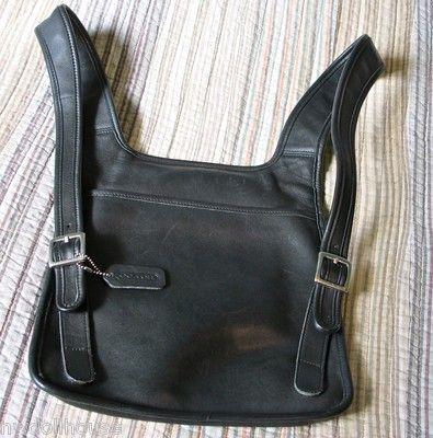 hard to find vtg coach black leather hippie flat backpack purse bag rh pinterest com