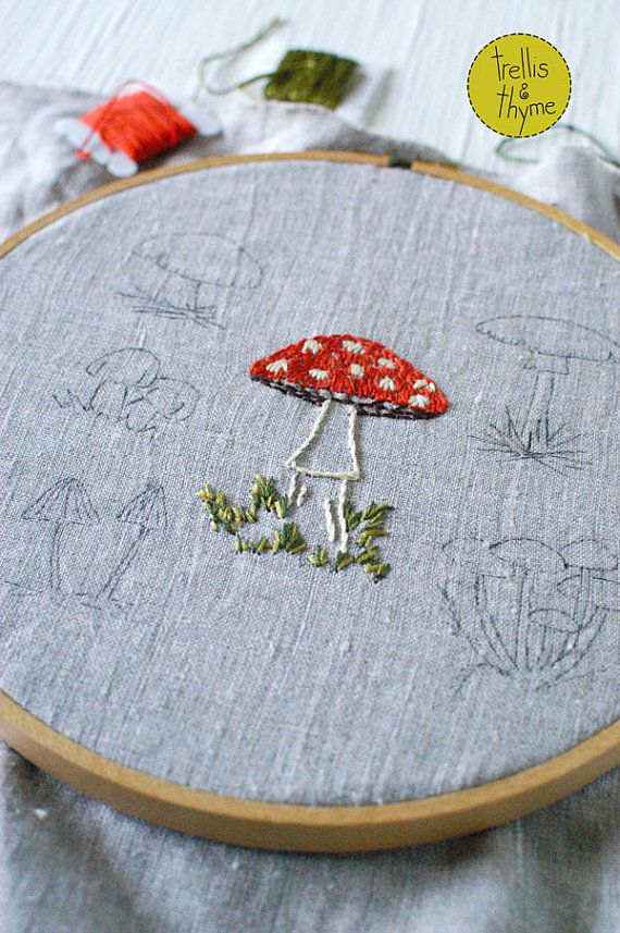 PDF Embroidery Pattern – Wild Mushrooms Botanical Embroidery Pattern Collection