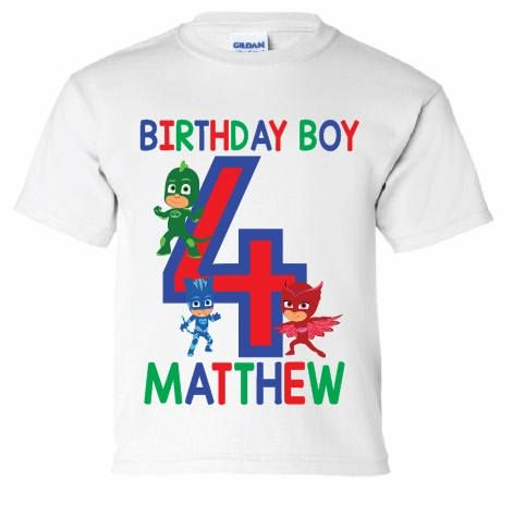 PJ Mask Birthday Boy Shirt, Personalized Name #clothing #children #tshirt @EtsyMktgTool http://etsy.me/2hWKqaJ