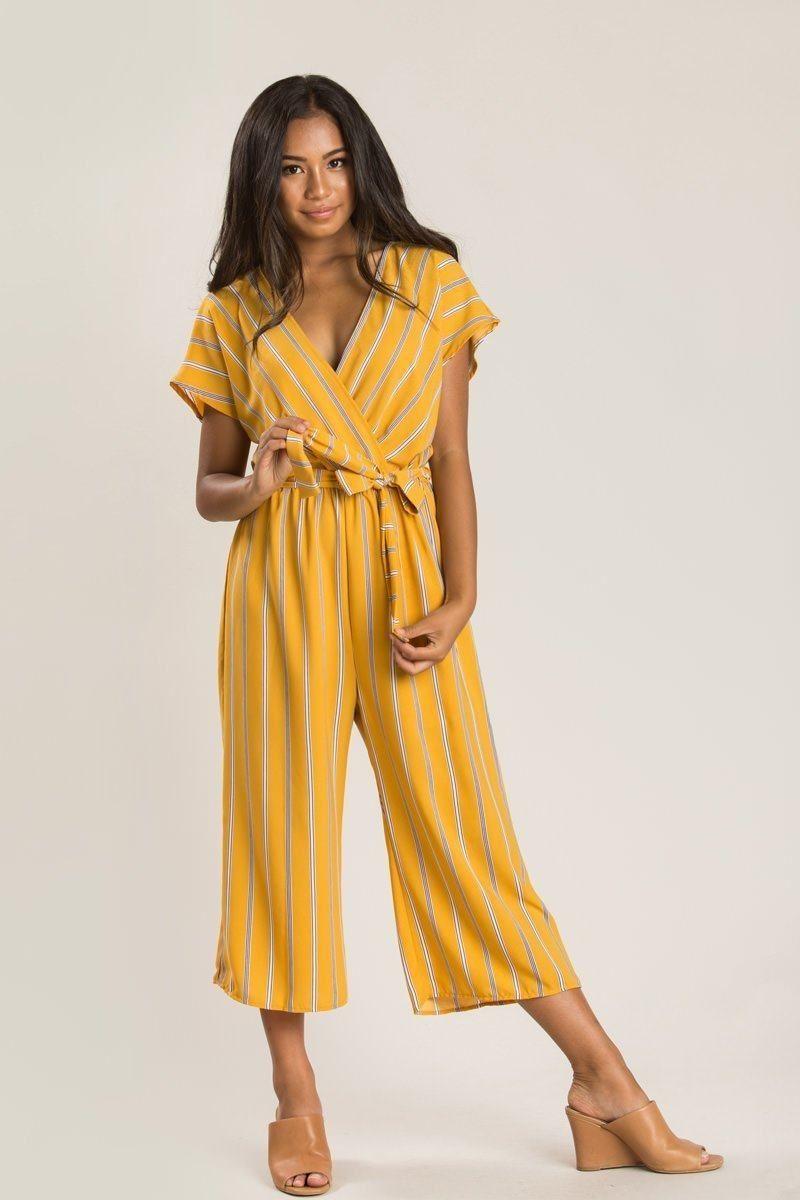 5d61e772efe9 Marlene Mustard Stripe Jumpsuit - Morning Lavender