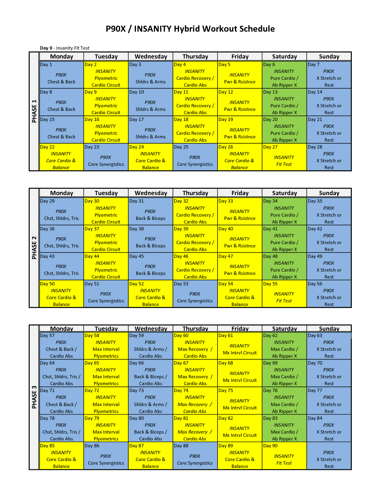 Insanity Workout Schedule File