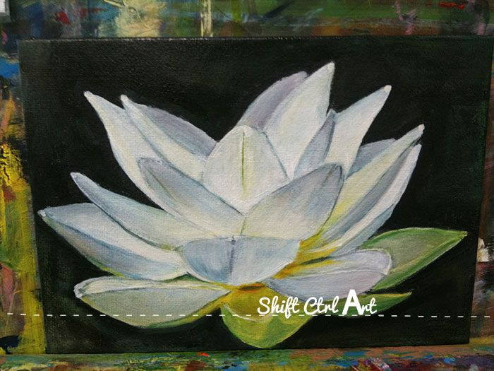 A White Lotus Flower Acrylic And Oil Paint On Canvas Diy Home