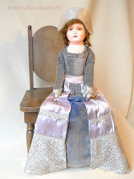 Poupée de lit vintage allemand assis poupée de par ShabbyGoesLucky