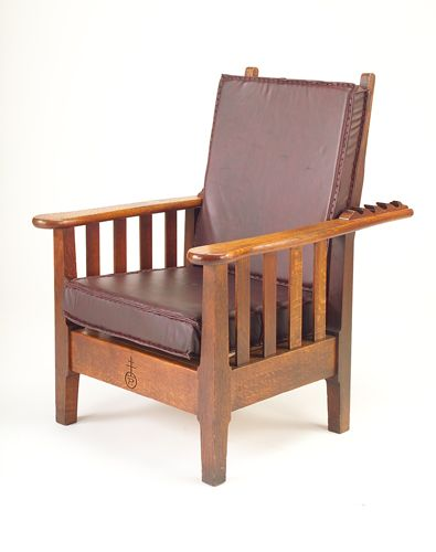 ROYCROFT Morris Chair With Shaped Arms And Posts, Laced Leather Covered  Foam Cushions, And Four Slats Under Each Arm. Arms Refinished, Repairs To  Back ...