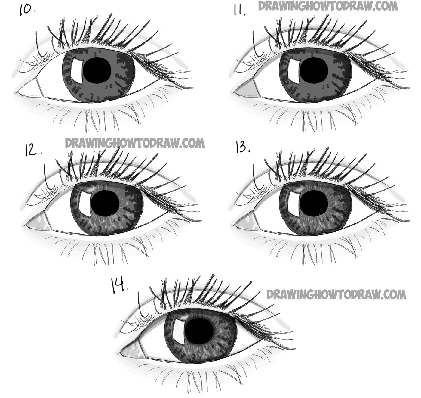 Drawing real looking eyes in simple step by step drawing lesson