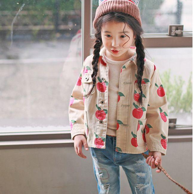>> Click to Buy << 2017 Girls Outerwear Coat Jacket Korean Style Girls jacket Full Apple printing Lovely coat for new spring Kids Clothing Wear #Affiliate