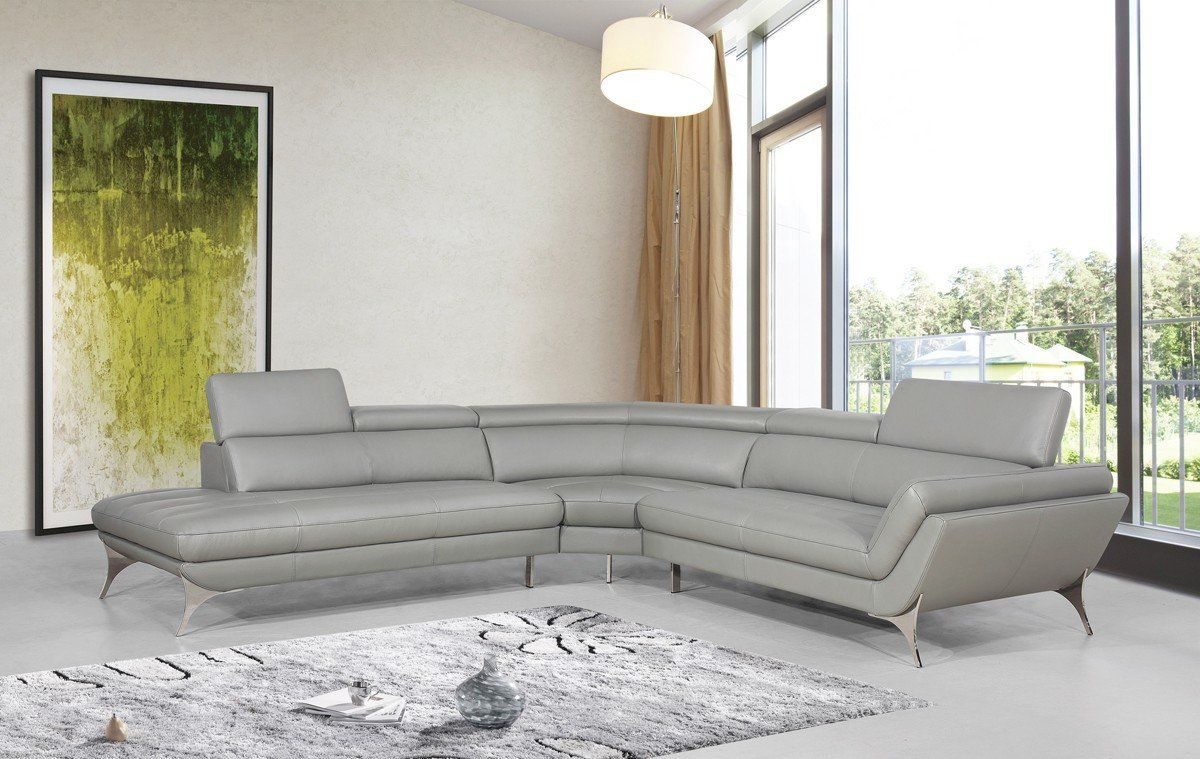 Collison Leather Left Hand Facing Sectional Grey Leather