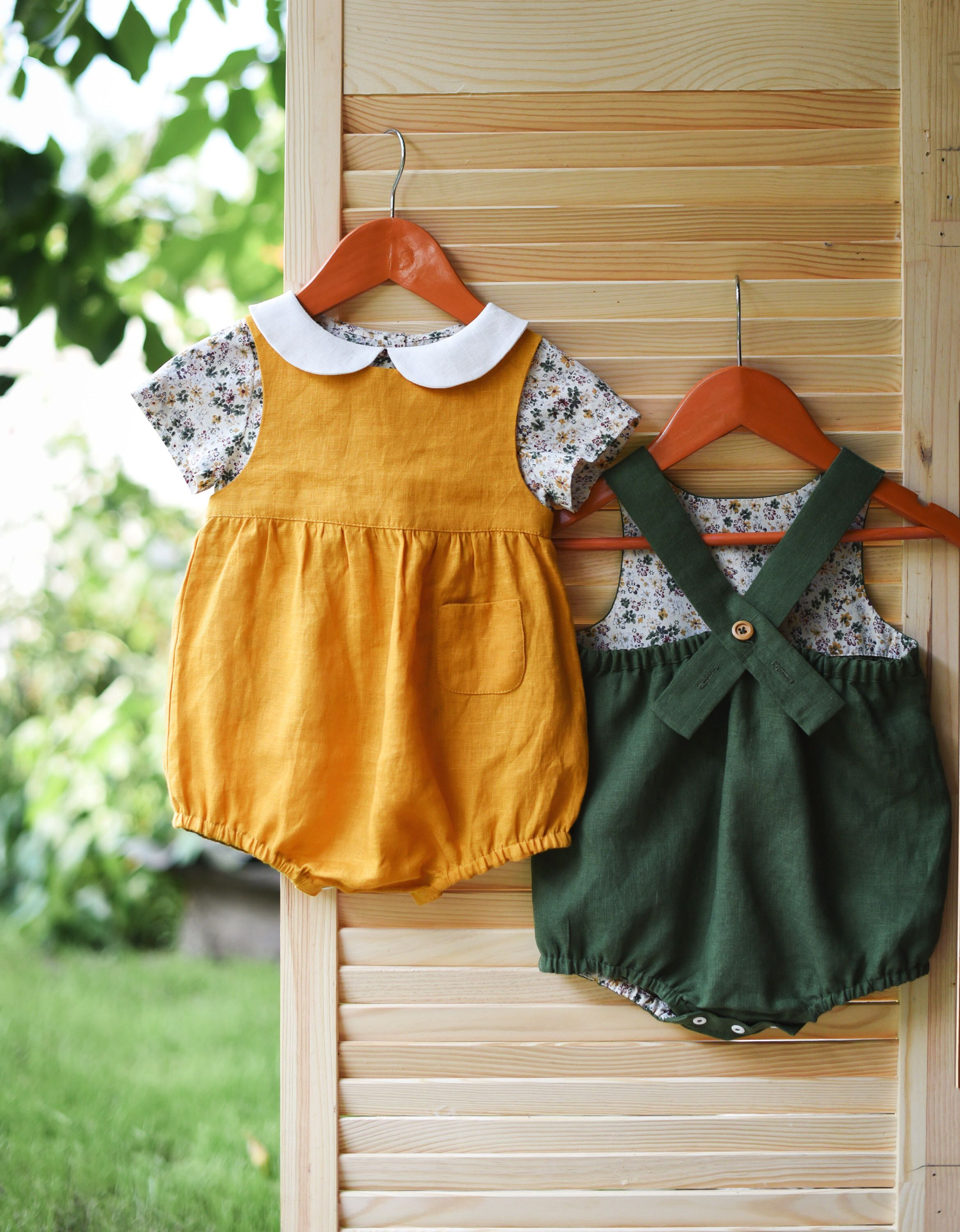 b0b56e345 Baby Outfit, Girl Outfit, Linen Romper, Floral Top, Peter Pan Collar, Girls  , Baby Romper, Mustard Romper, Baby Clothes