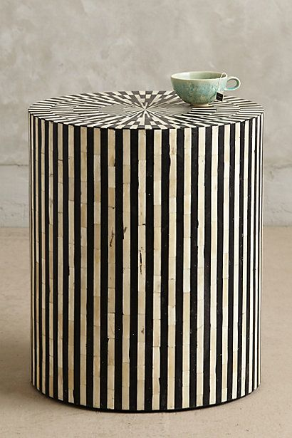 Rounded Inlay Side Table Bone Inlay Side Table Decor Furniture
