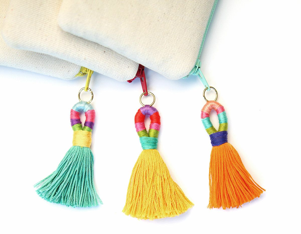 Mobili multicolor ~ Diy how to make multicolored loop n flare tassels to use as