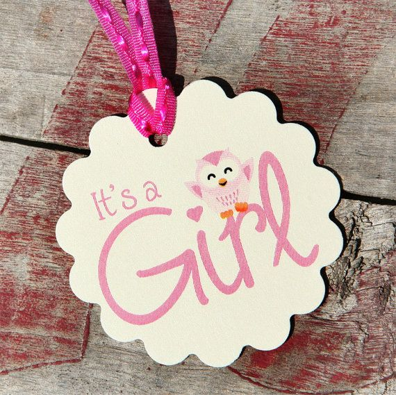 Its A Girl Baby Owl Tag, Perfect for Baby Showers, Owls, Adorable Favors For Baby Shower. $8.00, via Etsy.