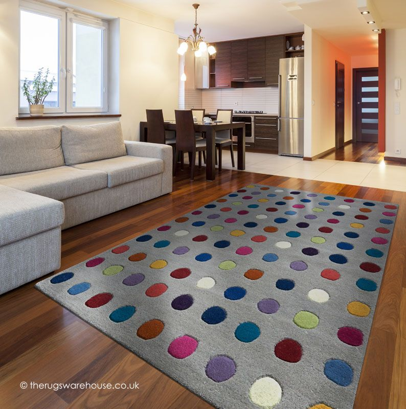 Funk Spotty Rug A 100 Wool Hand Tufted Grey Modern With
