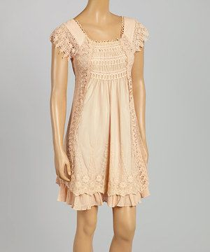 This Ryu Peach Embroidered Scoop Neck A-Line Dress by Ryu is perfect! #zulilyfinds