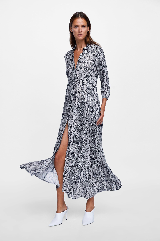 bb3d2e2747d8 VESTIDO CAMISERO ESTAMPADO SERPIENTE | Zara | Maxi shirt dress ...