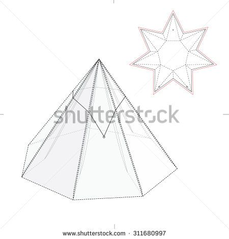 Seven Sided Pyramidal Box with Rubber Band Seal and Die