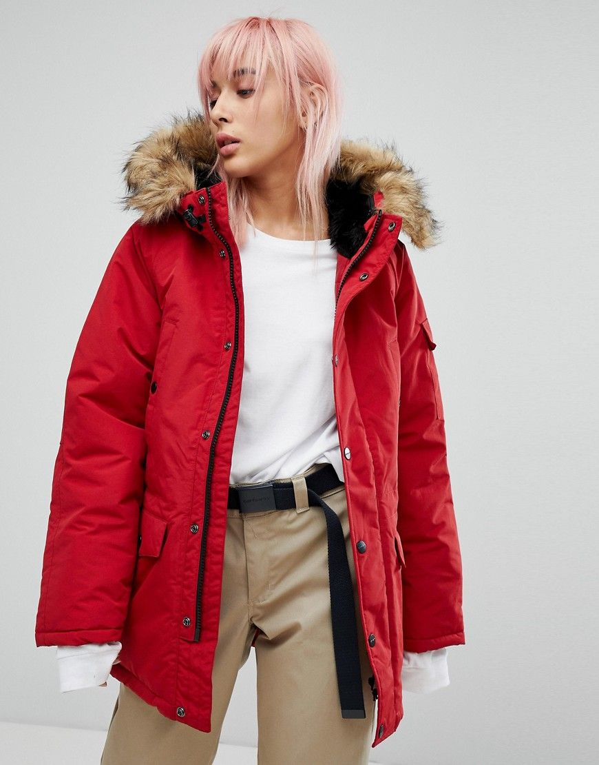 ae6d0629614f CARHARTT WIP OVERSIZED ANCHORAGE PARKA JACKET WITH FAUX FUR HOOD - RED.   carhartt  cloth