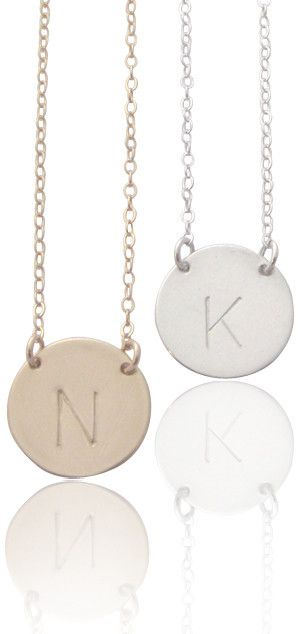 The Chloe Classic Font Large Initial Necklace Gold Silver