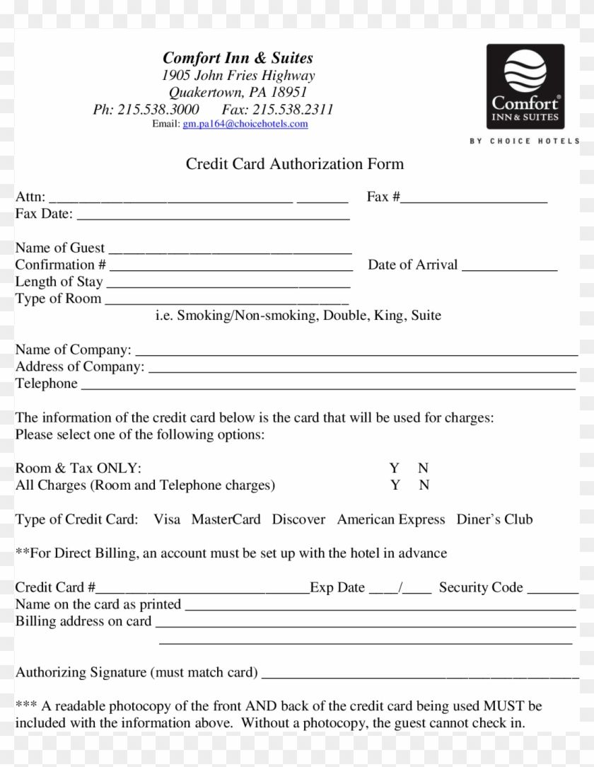Credit card authorization form for choice hotels form