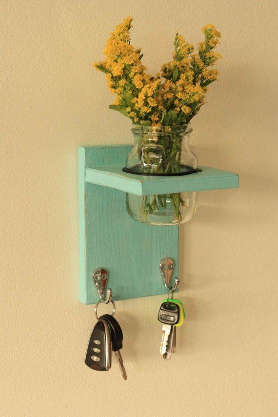 Key hanger, coat hanger, coat rack, reclaimed wood, mason jar decor ...
