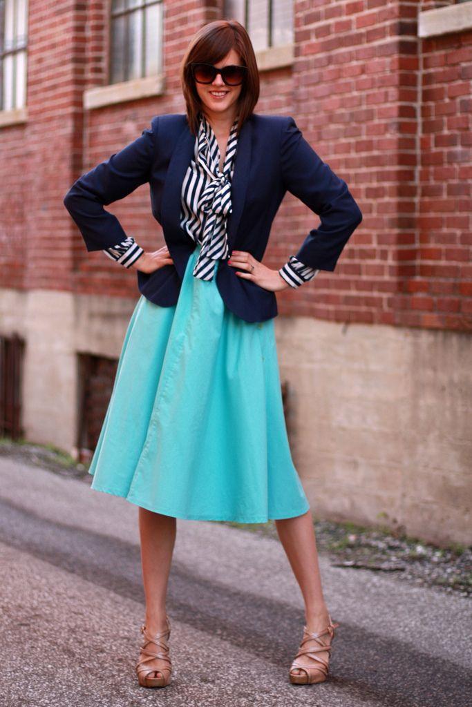 blazer and colorful skirt