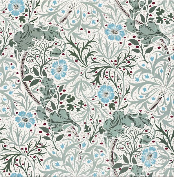 William Morris Tile Seaweed. Seamless tile in both