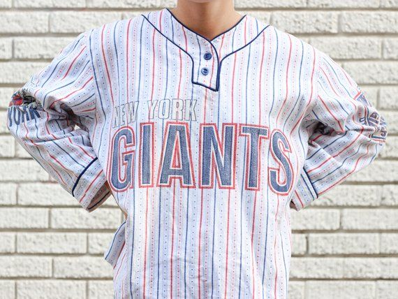 new product af008 9cff0 90s Unisex NFL New York Giants Flannel Baseball Shirt ...