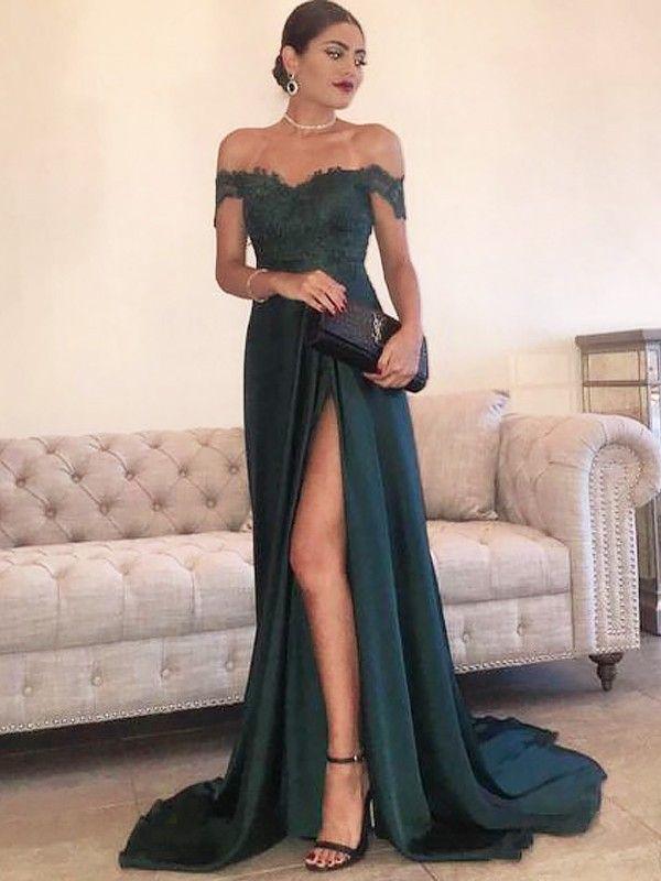 ccc0a7d85 Corte en A Princesa Hombros Caídos Sin Mangas Cola de Barrido Encaje Satén  Vestidos - Vestidos de Noche 2018 - Vestidos de Noche - Hebeos.es