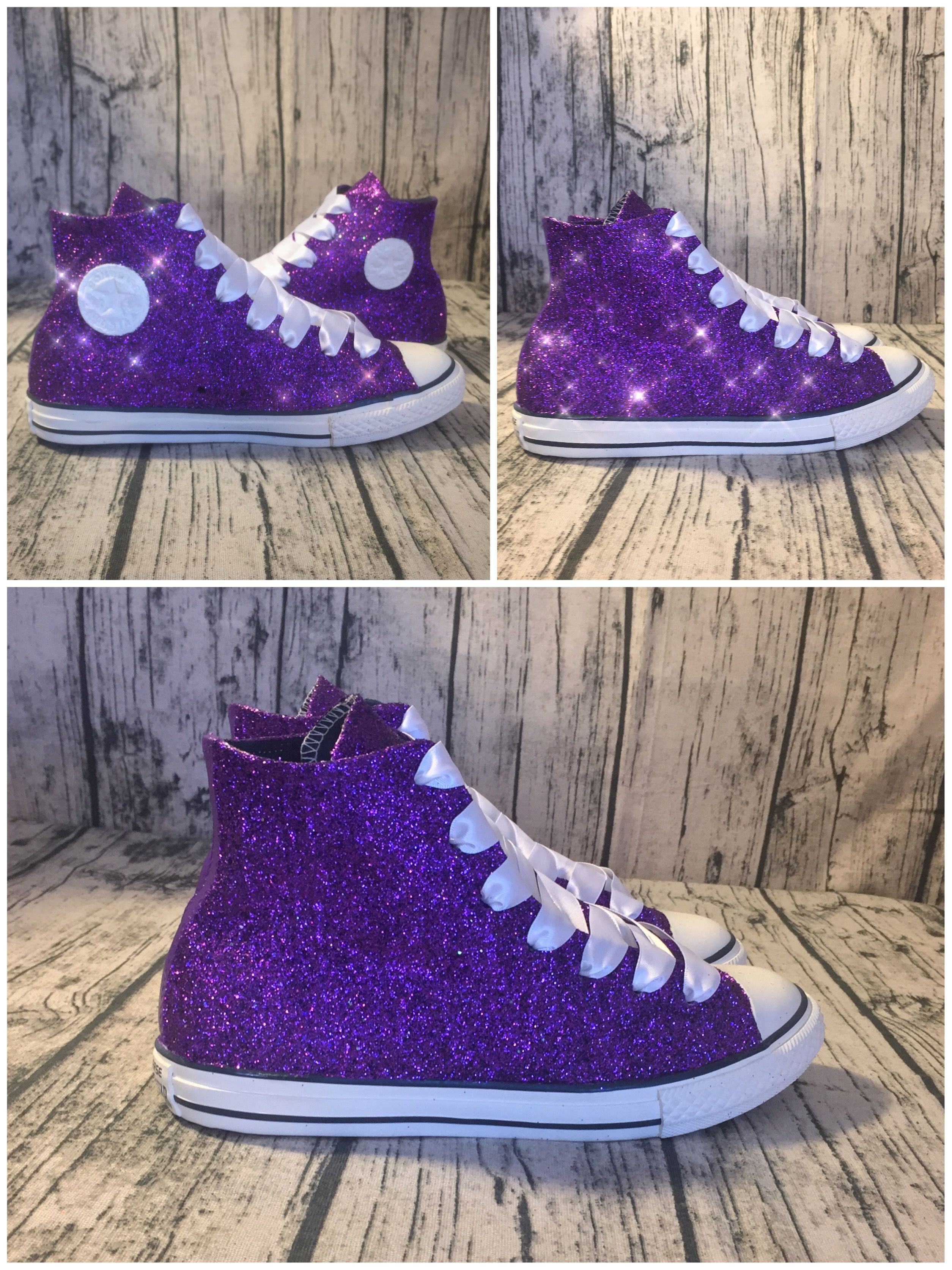 a57b9d0f9dfd Custom Made Purple Glitter Converse All Stars! High and low tops are  available in any color! SHOP NOW at www.glittershoeco.com