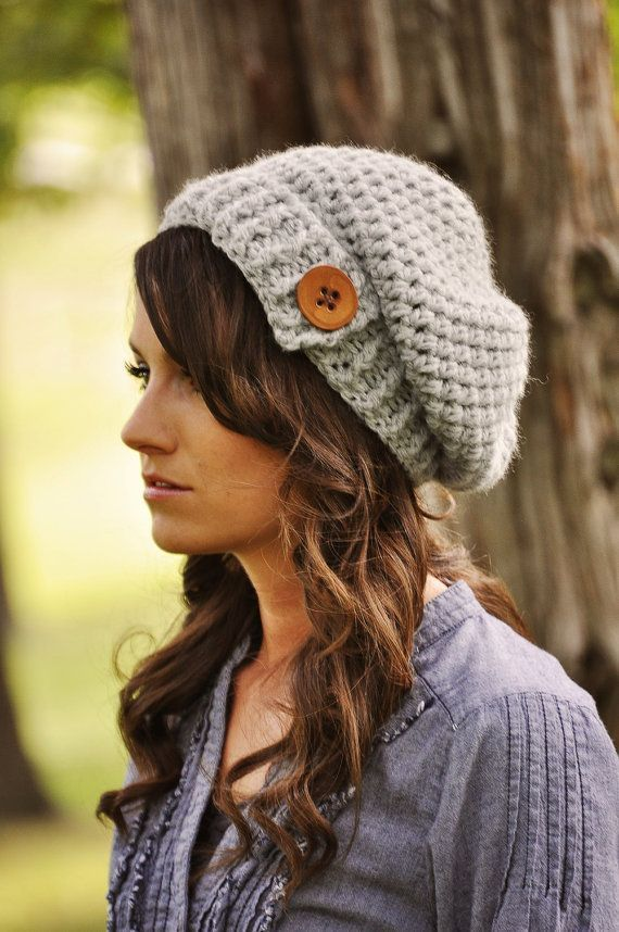 slouchy crochet beanie hat style and button style (2) | Crochet ...