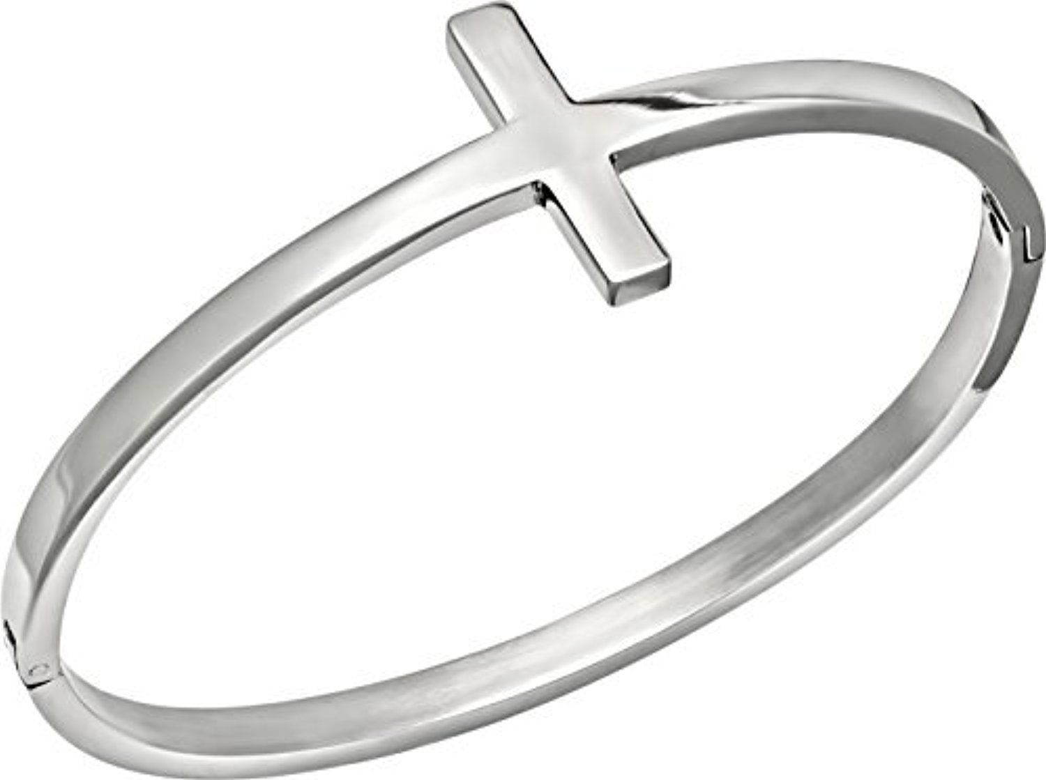 7.5 Polished Stainless Steel Sideways Christian Cross Inspirational Bangle Bracelet by Kinzie Fashion -- Awesome products selected by Anna Churchill